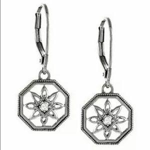 Jewelry - Diamond Filigree Octagon Earrings